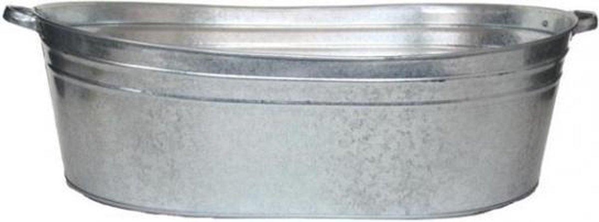 Ovale zilveren zinken teil 70 liter -  wasteil, plantenbak of drankemmer - Merkloos