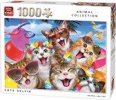 Afbeelding van King Puzzel 1000 Stukjes (68 x 49 cm) - Cats Selfie - Legpuzzel Dieren