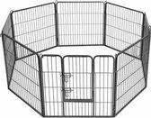 MaxxPet Hondenren - Puppyren met 8 Kennelpanelen - Staal - 80 x 80 cm - Ø 210 cm