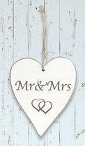 """Houten hart """"MR MRS"""""""
