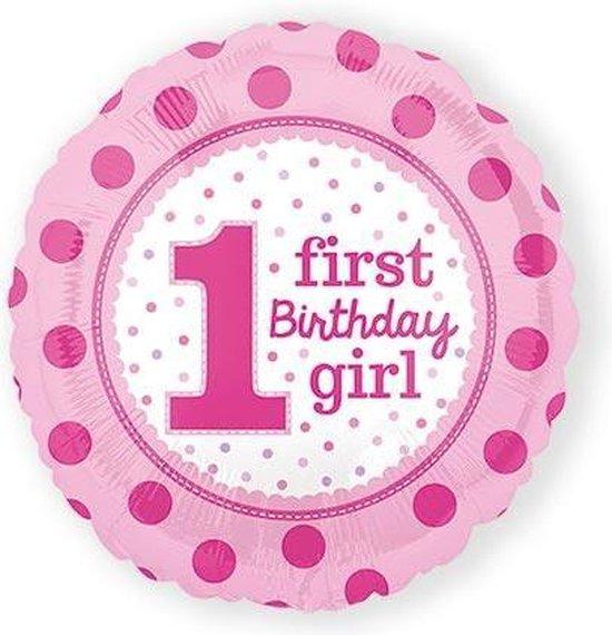 1st Birthday Meisje, FolieBallon, 43 cm