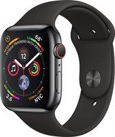 Apple Watch Series 4 GPS + Cellular, 44mm Kast van Roestvrij staal, zwart sportbandje