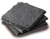 Boska Onderzetters Leisteen - Set van 4 - Zwart - Anti-slip - 10x10 cm