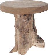 Houten kruk - teak hout - naturel - 41 x 40 x 25 cm