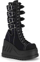 Demonia Enkellaars -39 Shoes- STOMP-210 US 9 Zwart