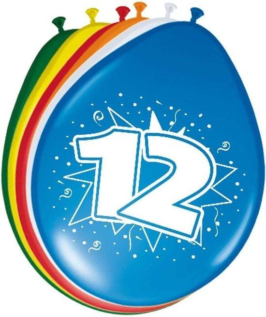 8x stuks Ballonnen versiering 12 jaar
