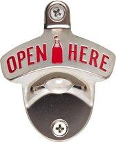 Lumaland - Flessenopener - Flesopener voor aan de muur - OPEN HERE - 80x65mm - RVS - Rood