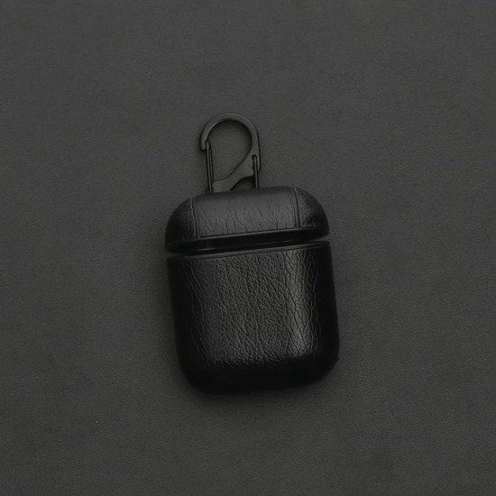 KELERINO. Leren hoesje voor Apple Airpods Inclusief Hangclip - Zwart - KELERINO.