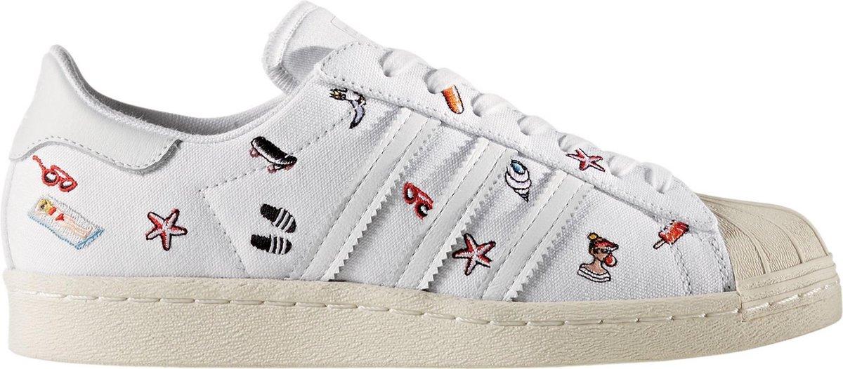 adidas Superstar 80s  Sneakers - Maat 37 1/3 - Vrouwen - wit/zwart/oranje/geel
