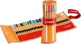 STABILO point 88 - Fineliner 0,4 mm - Rollerset - 30 stuks Etui - Met 25 standaard + 5 Neon Kleuren