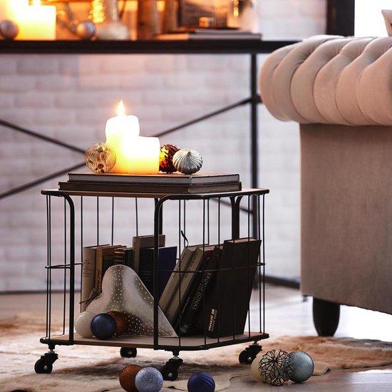 Relaxwonen Bijzettafel op wieltjes - Stevige kwaliteit - Industriële look - 40x40x40 cm - Relaxwonen