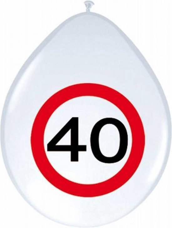 8x stuks Ballonnen 40 jaar verkeersbord versiering