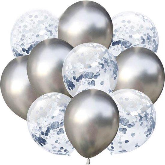 Set van 10 Ballonnen Champagne | Latex Ballonnen 30 cm Confetti en Metallic