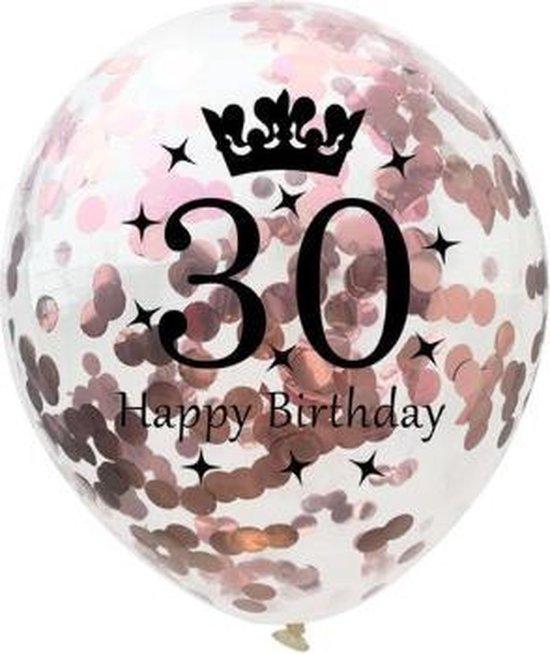 30 Jaar Ballonnen Set - Confetti - 5 stuks - Verjaardag Feest - Versiering - Metallic Rose - 30cm