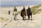 Morgenrit langs het strand - Paarden - Mauve - Schilderij op Canvas