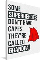 Cadeau voor opa met tekst - Superheroes Canvas 20x30 cm