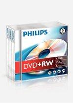 Philips DW4S4J05F - DVD+RW - 4,7GB - Speed 4x - Jewelcase - 5 stuks
