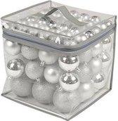 77 Kerstballen Zilverkleurig met opbergtas (Plastic)Christmas Gifts