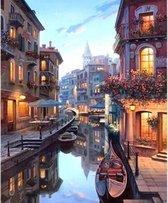 Schilderen op nummer Volwassenen – Venetië – Boten - Italië - Gondel - Hobby Pakket - 40x50 cm