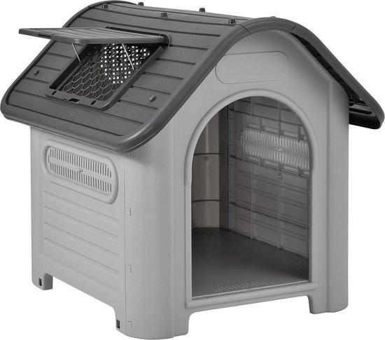 Hondenhok hondenhuis PVC 87x72x75,5 cm grijs en zwart