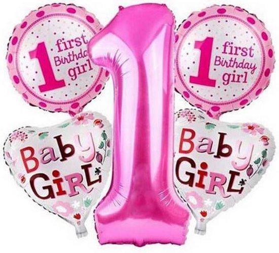 Nieuw bol.com | 5 stuks helium ballonnen roze 1 jaar roze IV-76