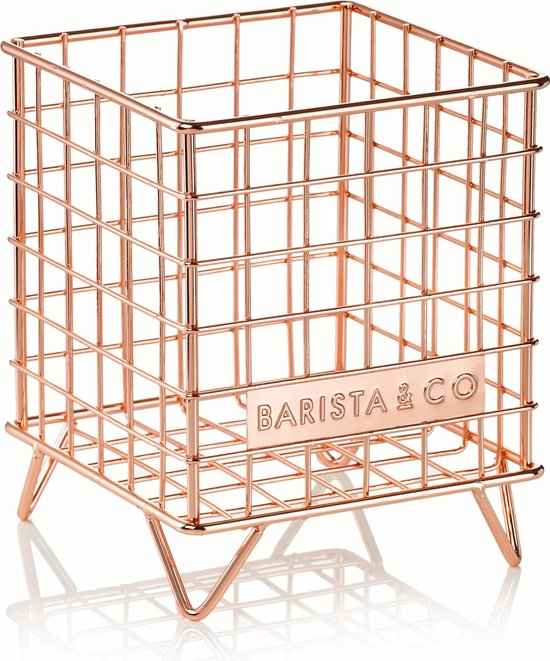 Barista & Co Koffie Cups Mand - Rvs - 13,5 x 13,5 x 17 cm - Electric Copper