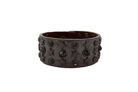 Stoere zwarte leren armband met studs en verstelbaar dmv