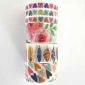 Washi tape set 4 stuks 20 mm x 5 meter - hartjes, veertjes, rozen love / decoratie tape masking tape