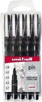 Uni Pin Fineliner - Zwart 5-delige set