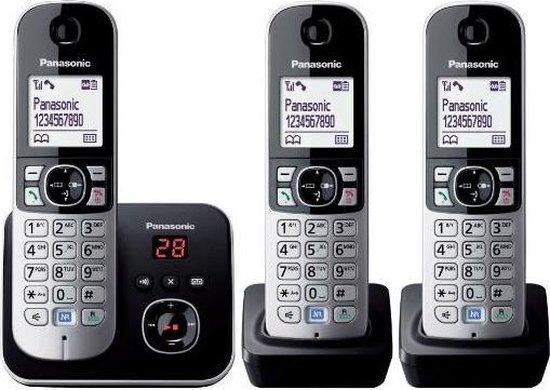 Panasonic KX-TG6823NLB - Trio DECT telefoon - Antwoordapparaat - Zwart/Zilver