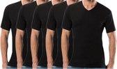 5 stuks Bonanza Basic T-shirt - V-hals - 100% katoen - Zwart - Maat M