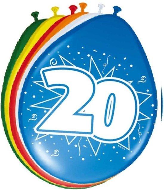 8x stuks Ballonnen versiering 20 jaar