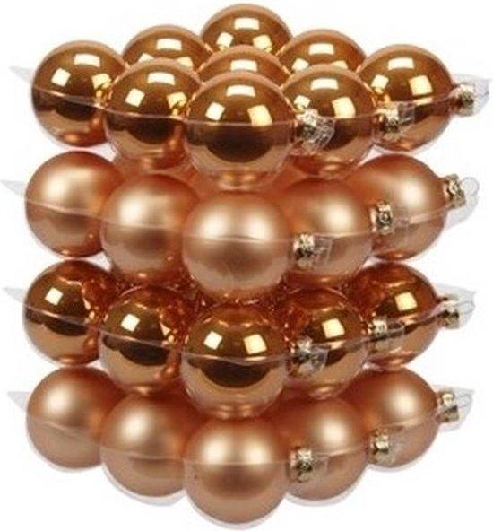 36x Oranje glazen kerstballen 6 cm - mat/glans - Kerstboomversiering oranje