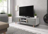 TV Kast Hoogglans Grijs - Scandinavisch Design - 2 deurs - 140x42x50 cm