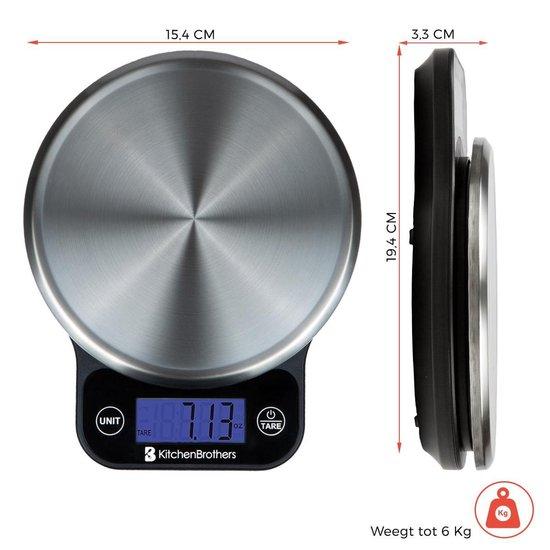 KitchenBrothers Digitale Precisie Keuken Weegschaal - 1gr tot 6 kg - Met Tarra Functie - Elektrisch - Inclusief Batterijen - RVS