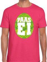 Roze Paas t-shirt met groen paasei - Pasen shirt voor heren - Pasen kleding 2XL