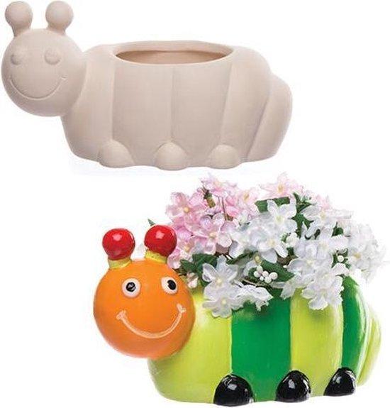 Keramische bloempotten in de vorm van een rups waarmee kinderen creatieve decoratie kunnen ontwerpen (2 stuks per verpakking)