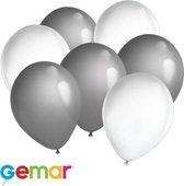 30x Ballonnen Wit en Zilver Ook geschikt voor Helium
