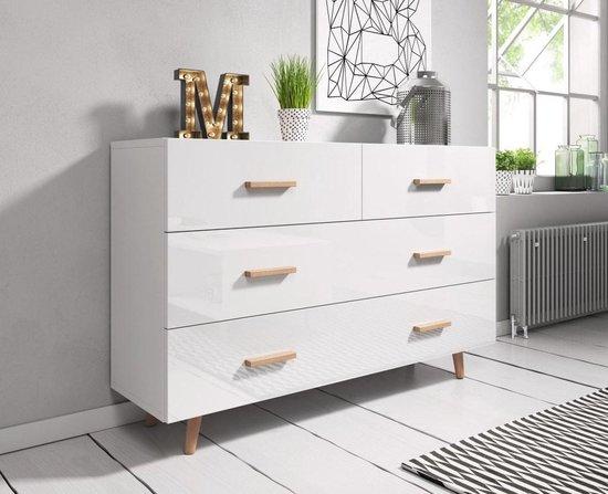 Ladekast Wit Hoogglans - Scandinavisch Design - 125x35x80 cm