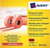 Prijstangetiketten Avery permanent 26x12mm rood 10 rol in doos