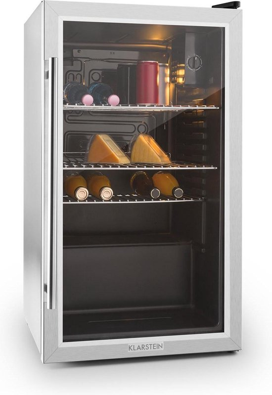 Koelkast: Klarstein Beersafe Horeca koelkast drankenkoelkast - Touch control met display voor het instellen van de koeltemperatuur - RVS - Glasdeur, van het merk Klarstein