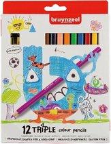 Bruynzeel Kids 12 driekantige kleurpotloden met slijper