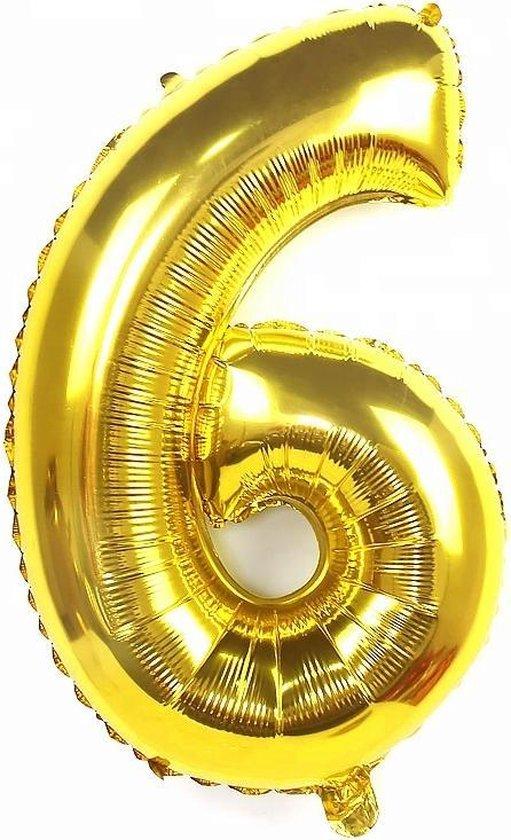 XL nummer 6 folie cijfer ballon goud 100 cm | nummer ballon | cijferballon