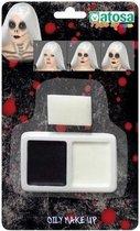 Schminkset horror zwart /wit met sponsje - Schmink/makeup voor Halloween - Skeletten/vampiers/Dracula make-up