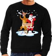 Foute kersttrui / sweater dronken kerstman en rendier Rudolf na kerstborrel/ feest zwart voor heren - Kersttruien XL (54)