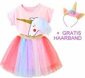 Eenhoorn jurk unicorn jurk set eenhoorn kostuum - 116-122 (130) prinsessen jurk tutu verkleedjurk + GRATIS haarband