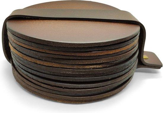 Leren Onderzetters  - Rond - 14 stuks - Bruine onderzetters - Onderzetters van leer - Ronde onderzetters - Onderzetters voor glazen