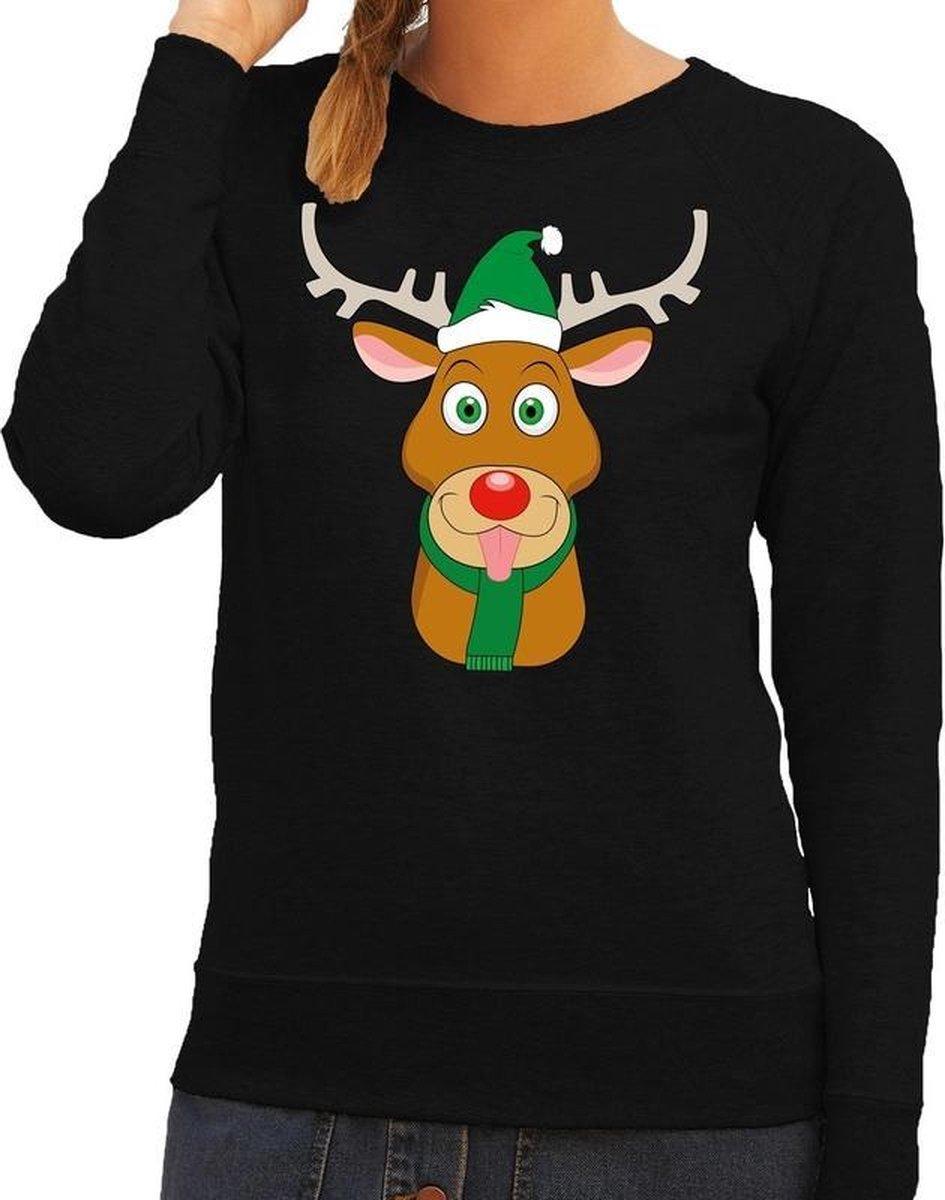 Foute kersttrui / sweater met Rudolf het rendier met groene kerstmuts zwart voor dames - Kersttruien L (40)
