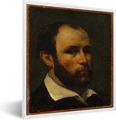 Foto in lijst - Portret van een man - Schilderij van Gustave Courbet fotolijst wit 40x50 cm - Poster in lijst (Wanddecoratie woonkamer / slaapkamer)