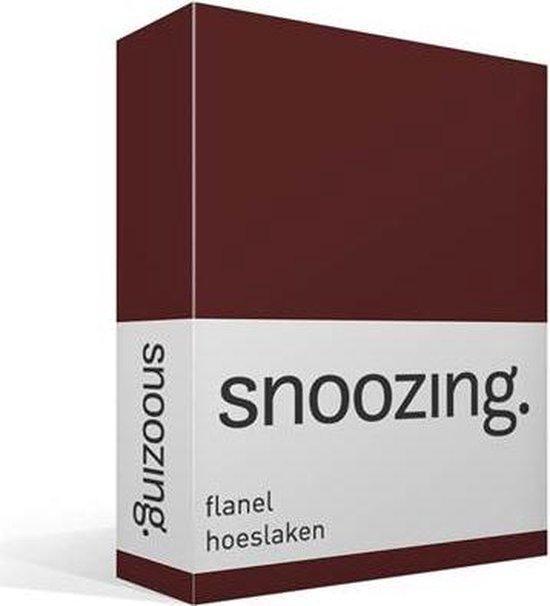 Snoozing - Flanel - Hoeslaken - Lits-jumeaux - 200x200 cm - Aubergine